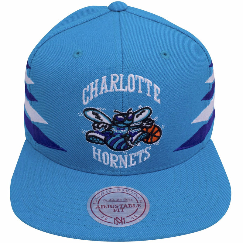 shopt he charlotte hornets diamond spike snapback hat to show love for the charlotte hornets. On the front of the teal hornets snapback hat, is the vintage charlotte hornets logo embroidered in white, teal, purple and orange