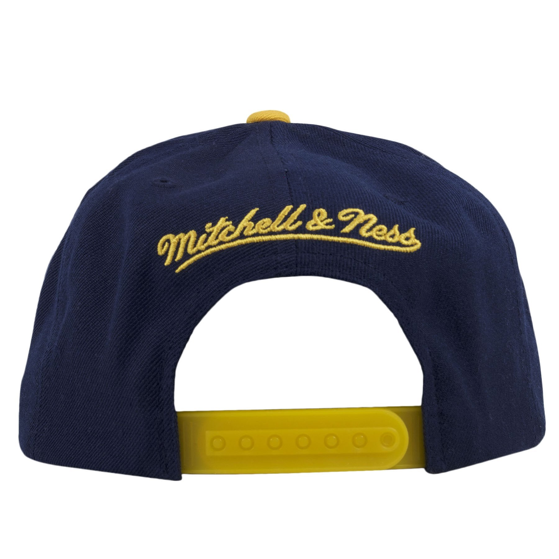 ... on the back of the LA Galaxy snapback hat is the Mitchell and Ness logo  embroidered ... 0ed6becaaa83