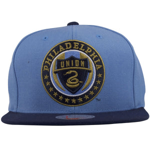 The front of this Soccer Philadelphia Union Snapback Hat shows the Large Philadelphia Union logo.