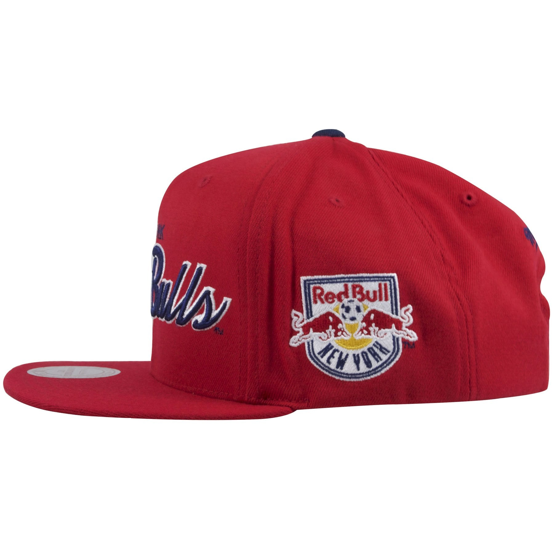 8b51a5645c671 ... on the left side of the new york red bulls script snapback hat is the  new ...