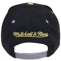 on the back of the brooklyn nets jordan 12 masters sneaker matching snapback hat, the mitchell and ness logo is embroidered in gold above the gray adjustable snap