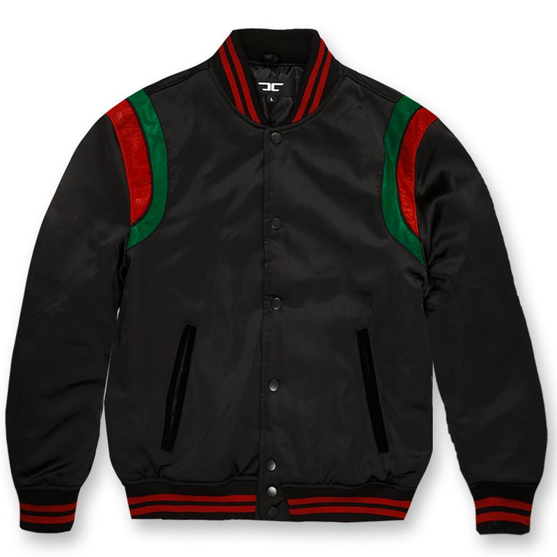front of Varsity Jacket Italian colorway |  Black Green Red Luxury Colorway Varsity Jacket for embroidery and Branding