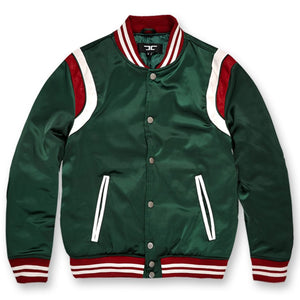 front of Varsity Jacket Italian colorway |  Green  Red White  Luxury Colorway Varsity Jacket for embroidery and Branding