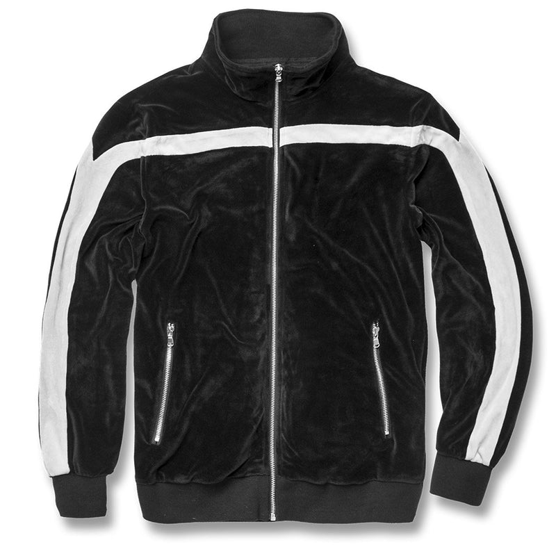The black and white velour gucci inspired track jacket is solid black with a white stripe running across the chest and down the sleeves