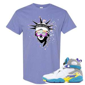 Air Jordan 8 WMNS White Aqua Sneaker Hook Up Liberty Head Violet T-Shirt
