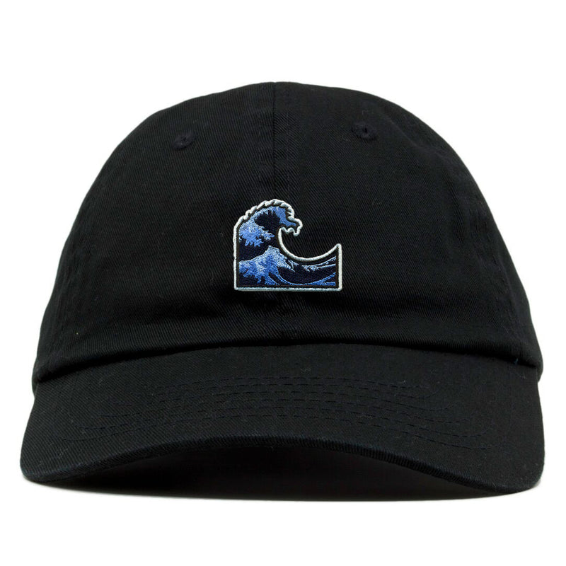 The wave emoji dad hat has a wave embroidered on the front of the black dad hat in blue