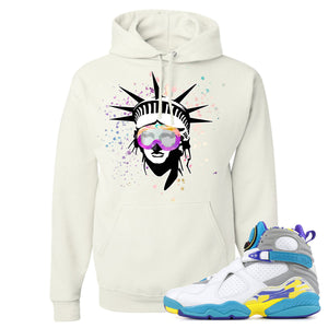 Air Jordan 8 WMNS White Aqua Sneaker Hook Up Liberty Head White Hoodie