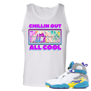 Air Jordan 8 WMNS White Aqua Sneaker Hook Up Chillin Out Maxin Relaxin All Cool White Mens Tank Top