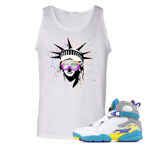 Air Jordan 8 WMNS White Aqua Sneaker Hook Up Liberty Head White Mens Tank Top