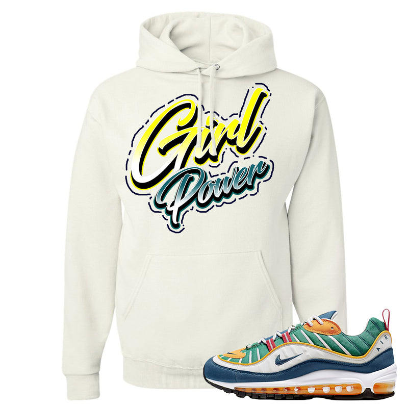 Nike WMNS Air Max 98 Multicolor Sneaker Hook Up Girl Power White Hoodie