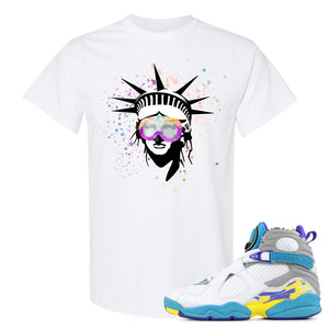 Air Jordan 8 WMNS White Aqua Sneaker Hook Up Liberty Head White T-Shirt