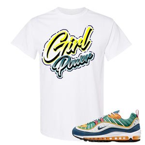 Nike WMNS Air Max 98 Multicolor Sneaker Hook Up Girl Power White T-Shirt