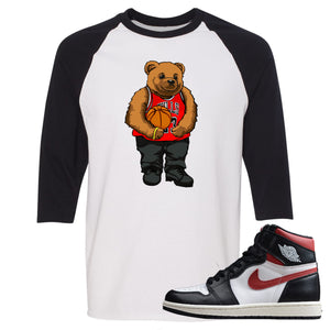 Air Jordan 1 Retro High Gym Red Sneaker Hook Up Polo Bear With Jersey White and Black Raglan T-Shirt