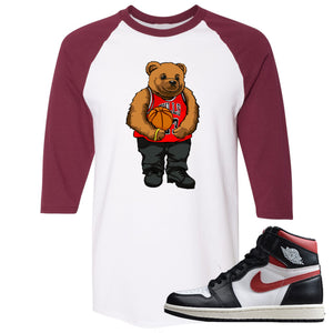 Air Jordan 1 Retro High Gym Red Sneaker Hook Up Polo Bear With Jersey White and Maroon Raglan T-Shirt
