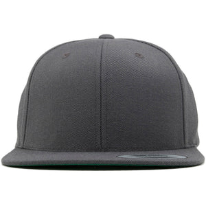 this blank gray snapback hat is solid gray with no design