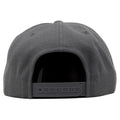 the gray snapback hat has a gray adjustable snap