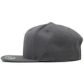 the gray snapback blank hat has a high crown and a flat bill
