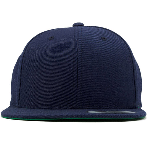 the navy blue snapback hat is solid navy blue
