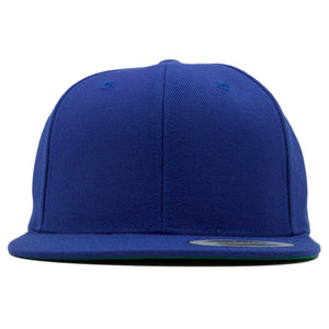 the blank plain blue snapback hat is solid blue with a structured crown and flat brim