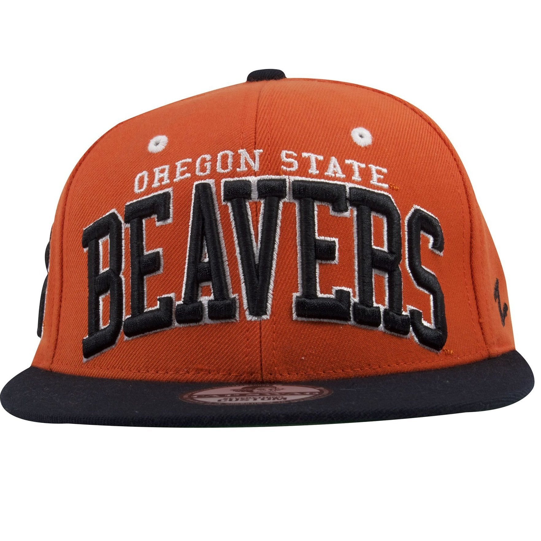 the best attitude 124ae e0e85 on the front of the oregon state beavers orange on black snapback hat is  the lettering
