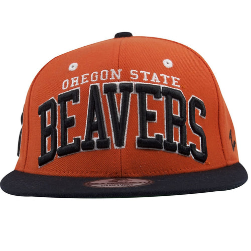 on the front of the oregon state beavers orange on black snapback hat is the lettering oregon state beavers embroidered in white and black