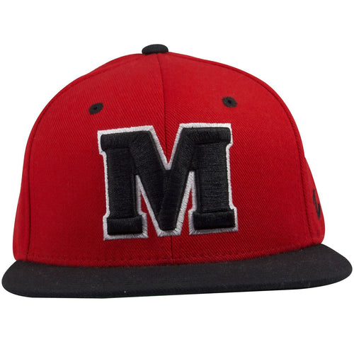 on the front of the university of maryland terrapins red on black snapback hat is a large letter M embroidered in black and white