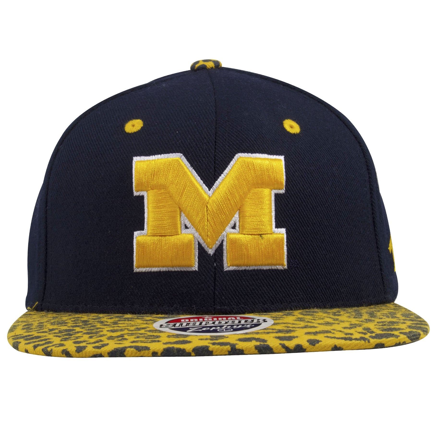 on the front of the university of michigan wolverines snapback hat is the  university of michigan 77c025e2fb2