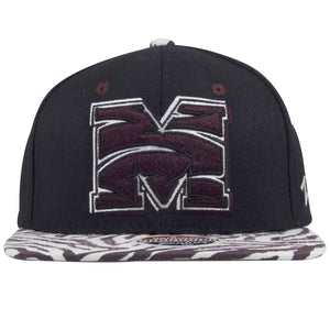 on the front of the morehouse college maroon tigers snapback hat is a morehouse college maroon tigers M embroidered in maroon tiger stripe pattern