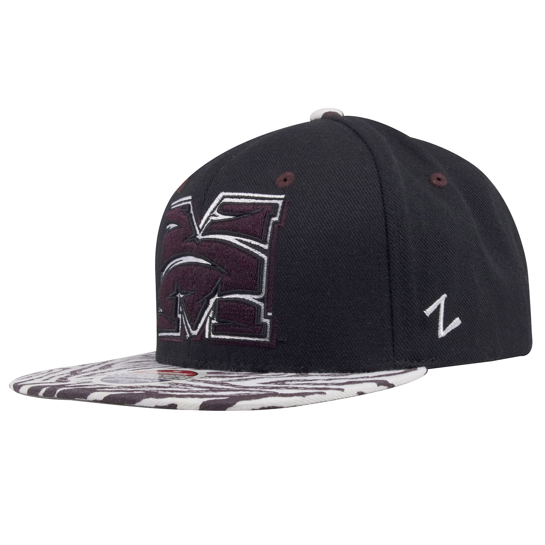 cheap for discount 5bdc0 a97a4 Morehouse College Maroon Tigers Animal Print Tiger Stripe Brim Snapback Hat