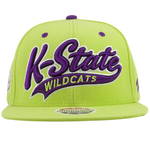on the front of the kansas state wildcats neon green and purple snapback hat is the word k-state in purple and white script embroidered and the word Wildcats embroidered in neon green
