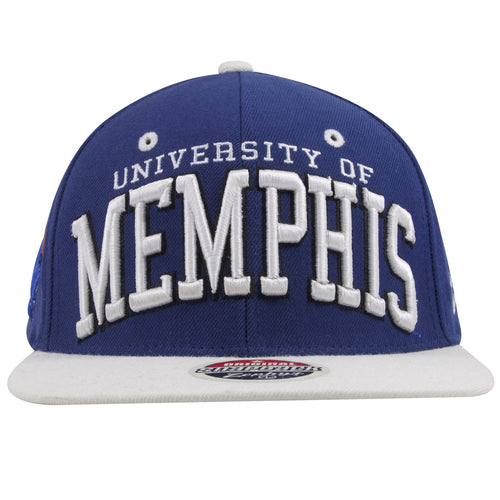 on the front of the university of memphis tigers snapback hat are the words university of memphis embroidered in white