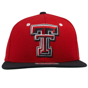 on the front of the texas tech red raiders snapback hat is the texas tech logo embroidered in red and black