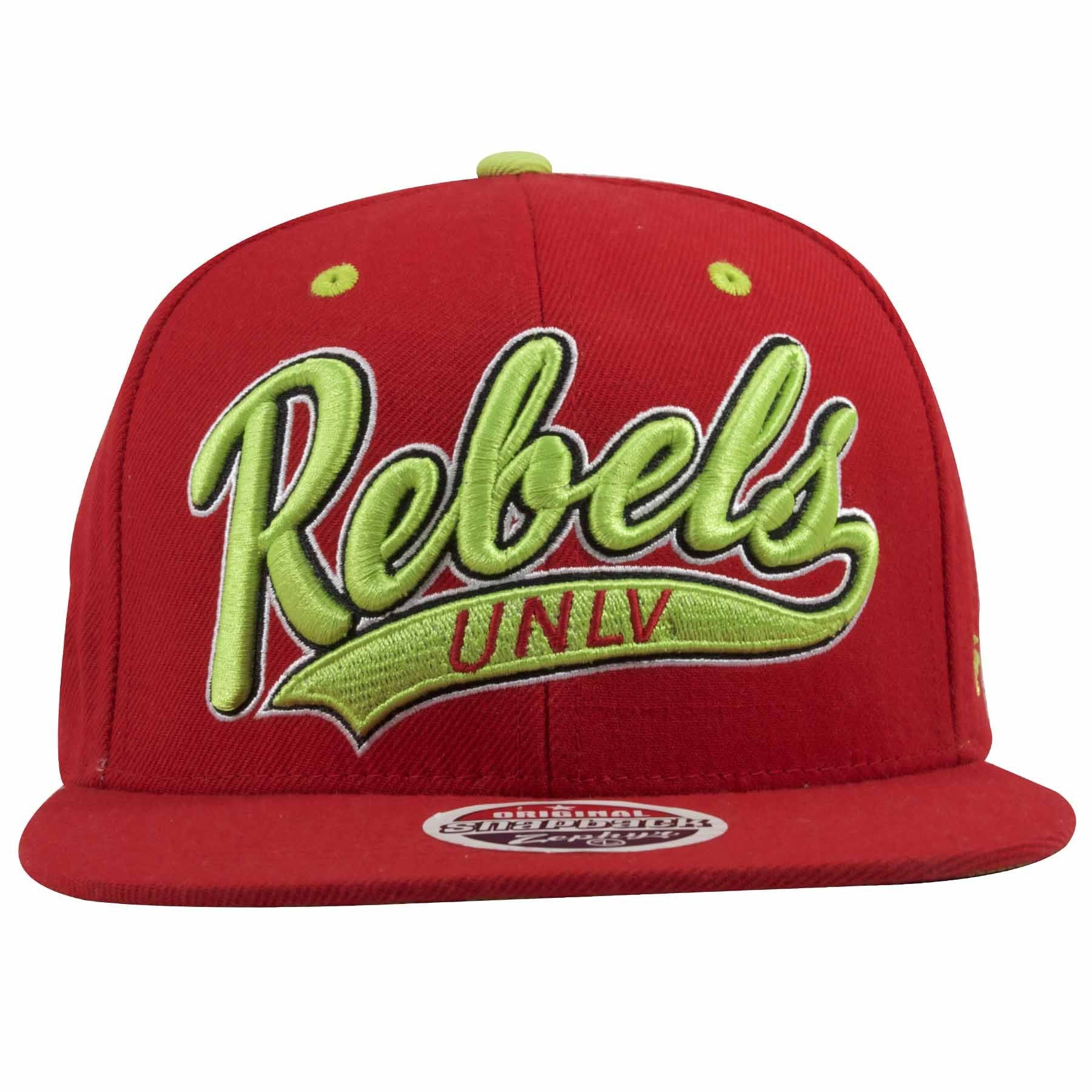 on the front of the university of las vegas runnin rebels snapback hat is  the word 7442f2d2d80c