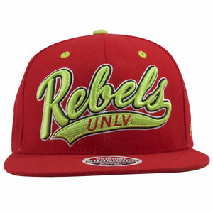 on the front of the university of las vegas runnin rebels snapback hat is the word rebels in script in neon green and black
