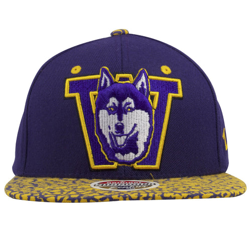 on the front of the washington huskies two tone snapback hat is a huskies logo embroidered in purple, white, and yellow