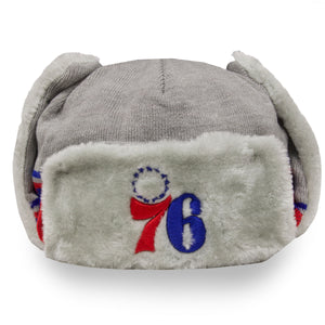 front of 76ers trapper winter hat grey | Philadelphia sixers grey ushanka trapper hat