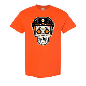 Broad Street Bullies Skull T-Shirt | Broad Street Bullies Candy Skull Orange Tee Shirt the front of this shirt has the bullies skull logo