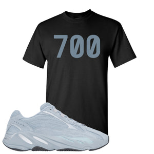 Yeezy Boost 700 V2 Hospital Blue 700 Sneaker Matching Black T-Shirt