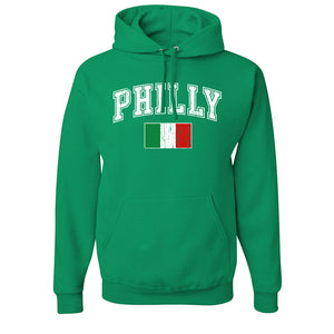 Philly Italian Flag Pullover Hoodie | Philly Italian Flag Kelly Green Pull Over Hoodie the front of this hoodie has the philly italian flag on the front