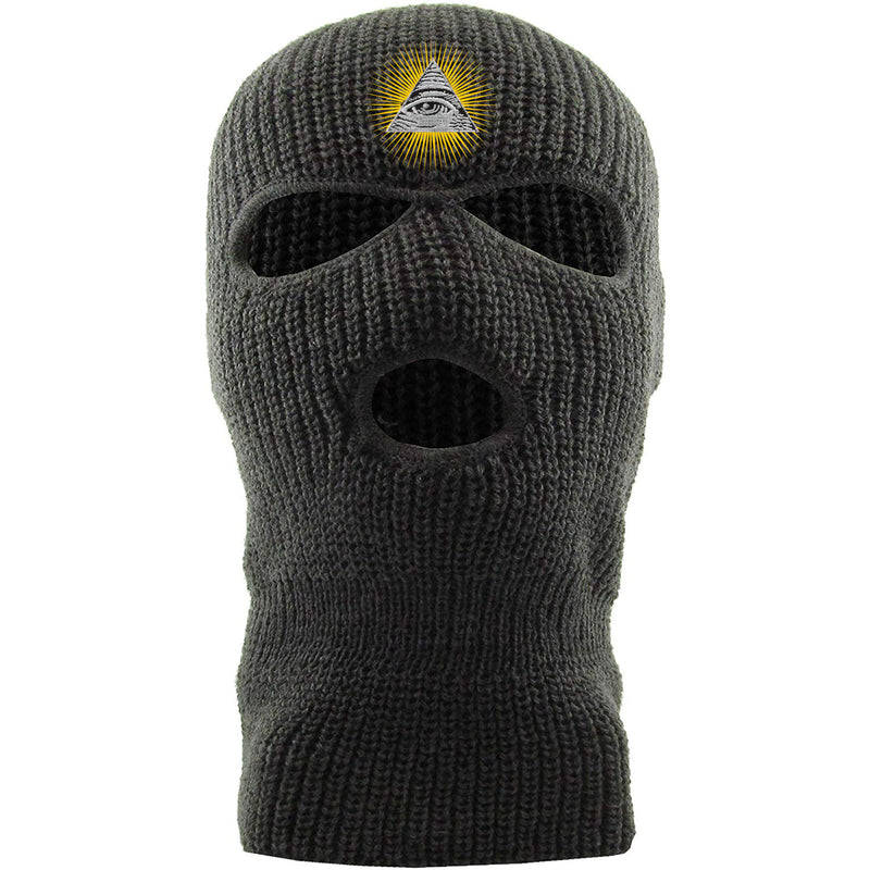 Embroidered on the front of the dark gray 3 hole ski mask is the all seeing eye pyramid embroidered in white, black, and metallic gold