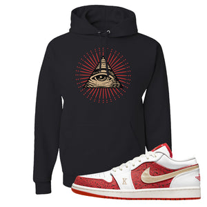 Air Jordan 1 Low Spades Hoodie | All Seeing Eye, Black