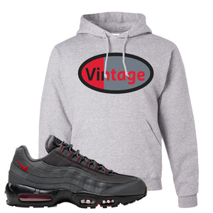 Air Max 95 Dark Gray and Red Pullover Hoodie | Vintage Oval, Ash