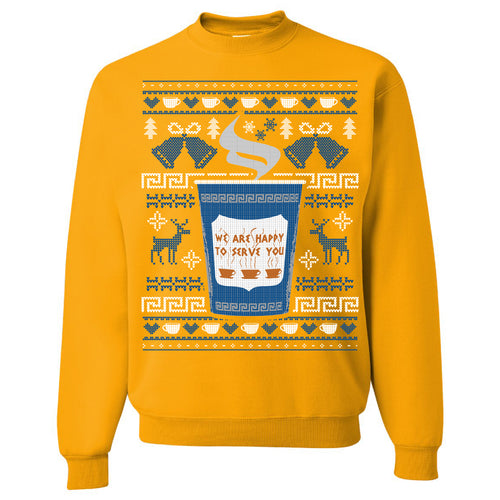 FOOT CLAN | NYC COFFEE CUP UGLY SWEATER | CREWNECK SWEATSHIRT | GOLD