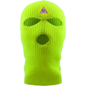Embroidered on the forehead of the safety yellow pyramid ski mask is the all seeing eye logo embroidered in white, black, and gold jackboys ski mask