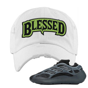 Yeezy 700 v3 Alvah Distressed Dad Hat | White, Blesssed Arch