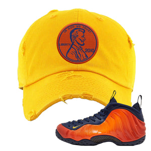 Foamposite One OKC Distressed Dad Hat | Gold, Penny