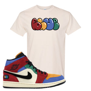 Jordan 1 Mid Fearless Blue The Great Blue Natural Sneaker Hook Up T-Shirt