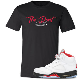 Air Jordan 5 OG Fire Red T Shirt | Black, Devil Is A Lie