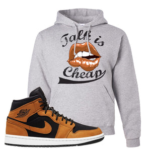 Air Jordan 1 Mid Wheat Hoodie | Talk Is Cheap, Ash