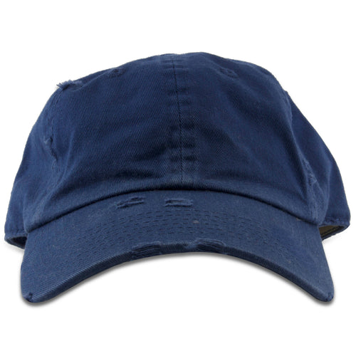 The kid's sized navy blue distressed blank dad hat has a soft unstructured crown and a bent brim